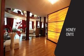 Living room with honey Onyx